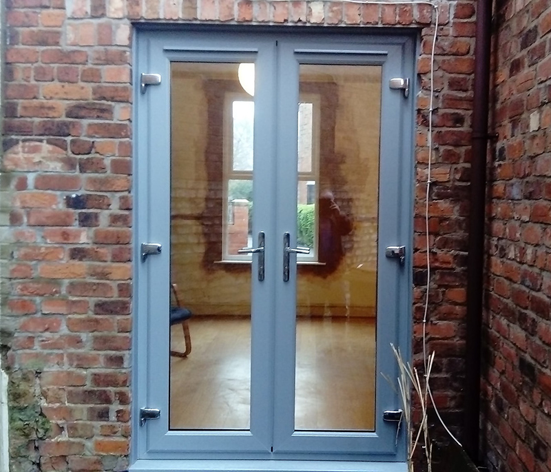 french door blue installation
